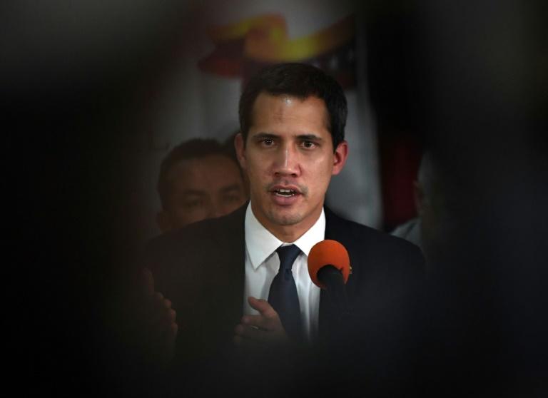 Le leader de l'opposition vénézuélienne et président autoproclamé Juan Guaido, lors d'une conférence de presse à Caracas le 14 mai 2019