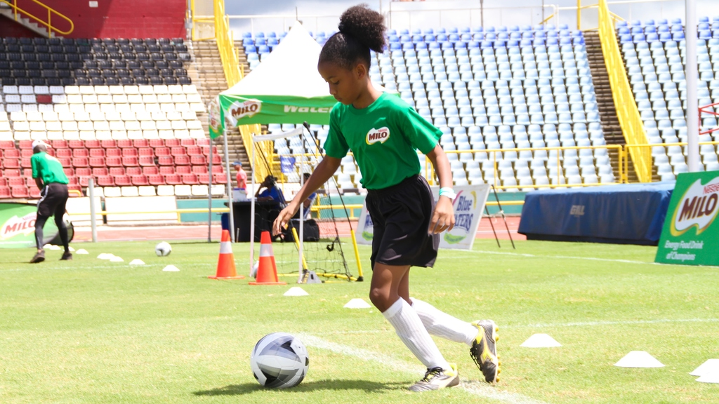 Female talent - Young Maia Sampson displays her dribbling skill on the field during the 2017 edition of the MILO Football Skills Tournament