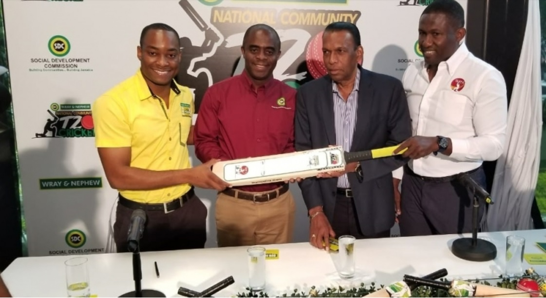 From left:  Pavel Smith, Brand Manager, Wray and Nephew White Overproof Rum; Dr. Dwayne Vernon, Executive Director of the SDC; Wilford 'Billy' Heaven, President of the JCA and Wavell Hinds, President of WIPA pose for a picture during the launch of the 2019 SDC/Wray & Nephew National Community T20 Cricket Competition.