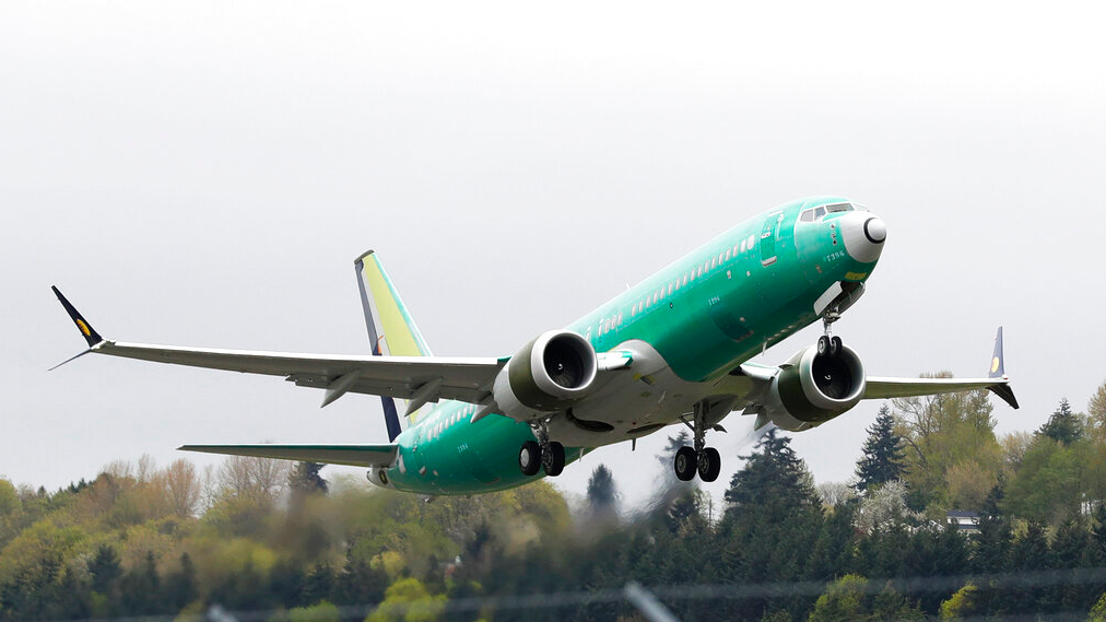 In this Wednesday, April 10, 2019 file photo, a Boeing 737 Max 8 airplane being built for India-based Jet Airways, takes off on a test flight at Boeing Field in Seattle. (AP Photo/Ted S. Warren, File)