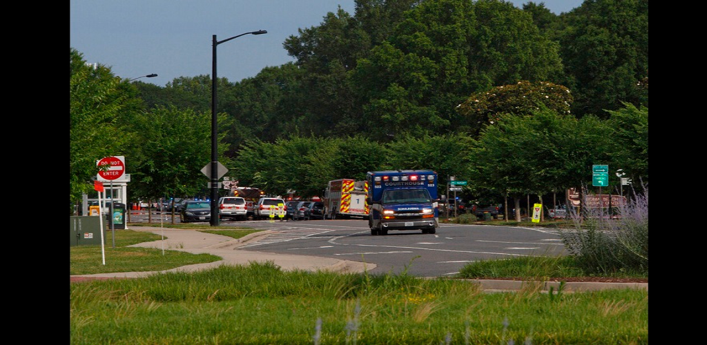 Emergency vehicles respond near the intersection of Princess Anne Road and Nimmo Parkway following a shooting at the Virginia Beach Municipal Center on Friday, May 31, 2019, in Virginia Beach, Va.