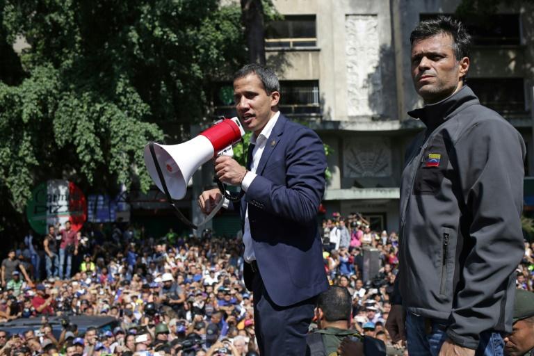 L'opposant vénézuélien et président autoproclamé Juan Guaido lors d'un rassemblement avec ses partisans, le 1er mai 2019 à Caracas