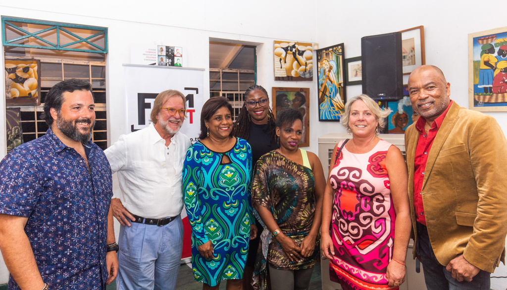 (l-r) Eduardo Rodrigalvarez, Location Manager; Dow Griffith, Location Manager; Senator the Honourable Paula Gopee-Scoon, Minister of Trade and Industry; Nneka Luke, General Manager, FilmTT; Dionne Mc Nicol Stephenson, Chairman, FilmTT; Christine Bonnem, Location Manager and Calvin Bijou, Chairman, CreativeTT