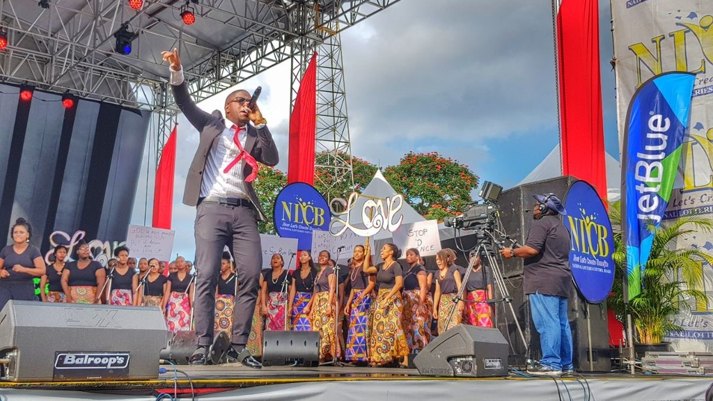 "File photo: Aaron ""Voice"" St Louis performs at Skinner Park, San Fernando."