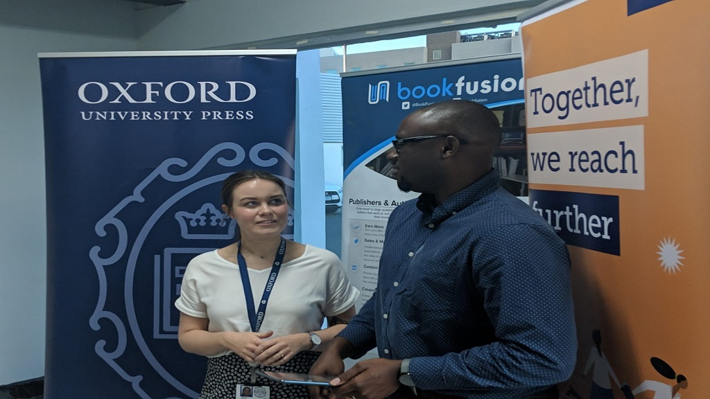 Stacey Roberts, senior educational consultant at Oxford University Press, and Dwayne Campbell, CEO of BookFusion Ltd. (Photo contributed)