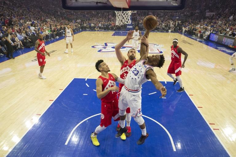 Jimmy Butler des Philadelphia 76ers lors du match 6 des demi-finales de Conférence Est face aux Toronto Raptors, à Philadelphie, le 9 mai 2019