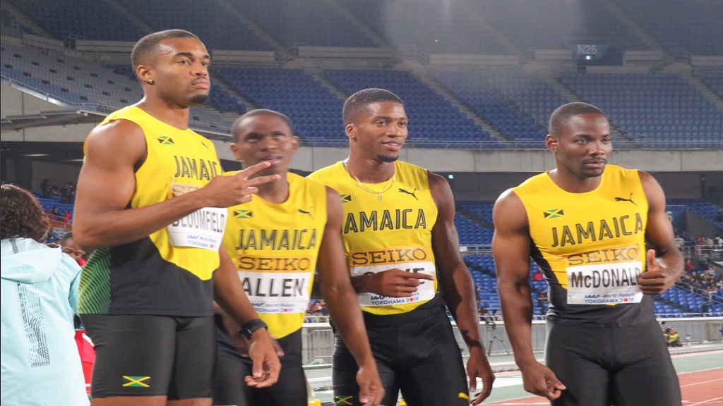 Jamaica's men's 4x400m relay team that won the silver medal at the IAAF World Relays in Yokohama on Sunday, May 12, 2019.