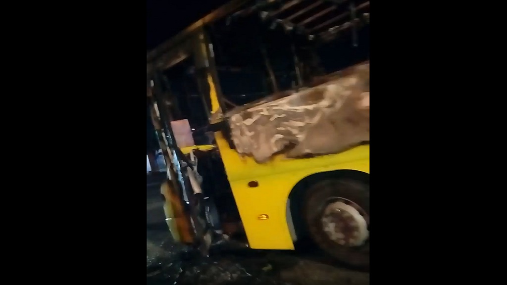 The damaged JUTC bus after fire gutted it on Tuesday.