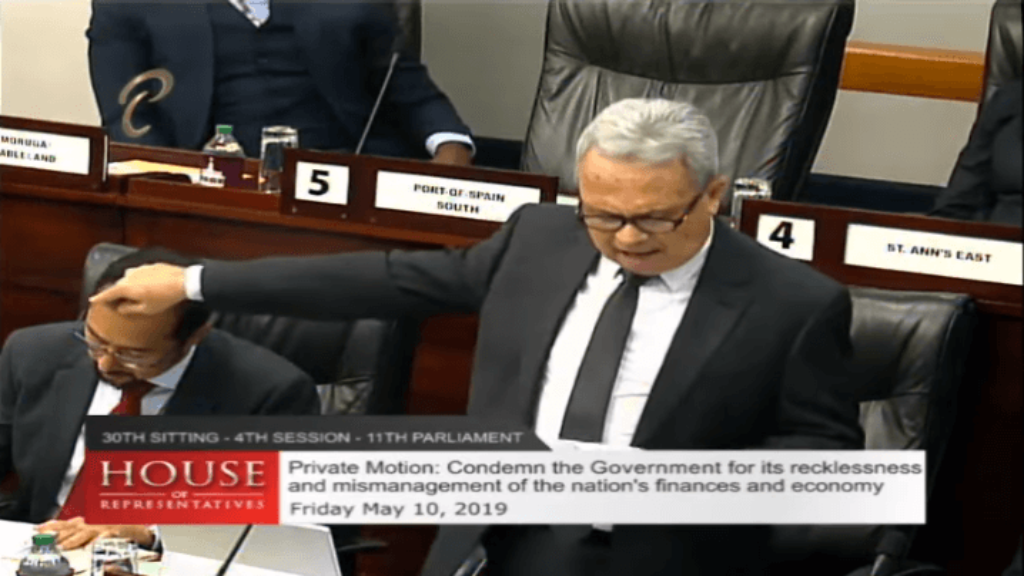 Finance Minister Colm Imbert delivers his contribution to debate on a motion brought by Caroni Central MP Dr Bhoendradatt Tewarie.