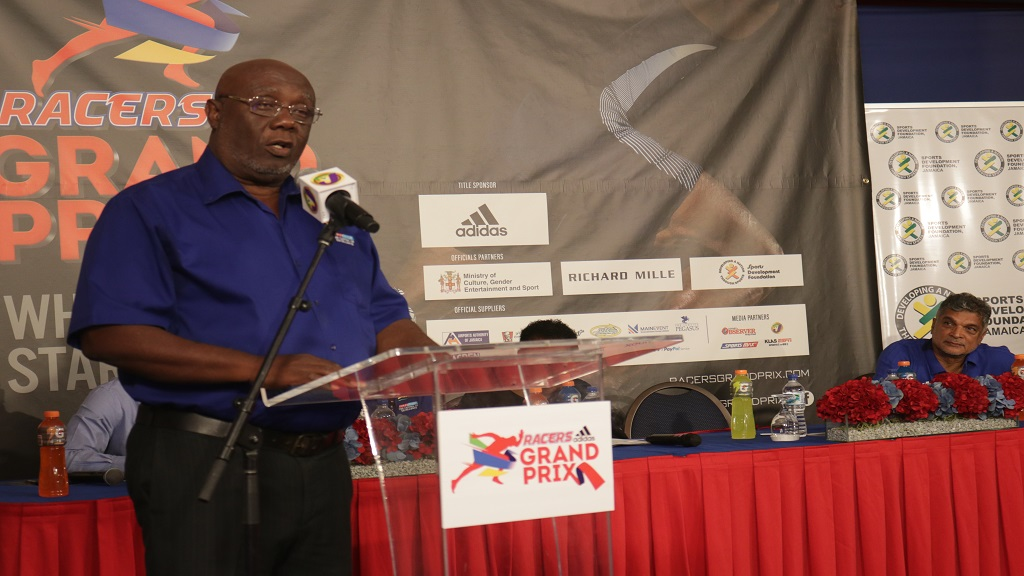 Glen Mills, president of Racers Track Club, makes his address during the launch of the fourth staging of the Racers Grand Prix at the Jamaica Pegasus on May 9, 2019. (PHOTOS: Shawn Barnes).
