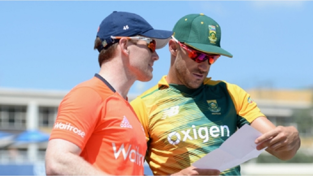 England captain Eoin Morgan (left) and South Africa skipper Faf du Plessis.