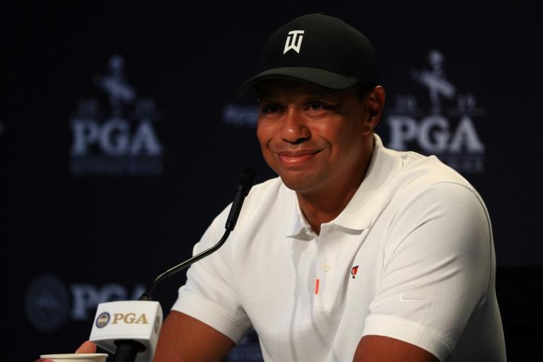 Le golfeur américain Tiger Woods en conférence de presse à New York le 14 mai 2019