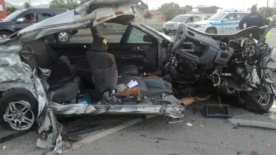 Photo: A vehicle in which 19-year-old Malick Alexander was killed after his vehicle collided with another vehicle on March 30, 2019. Photo via Facebook.