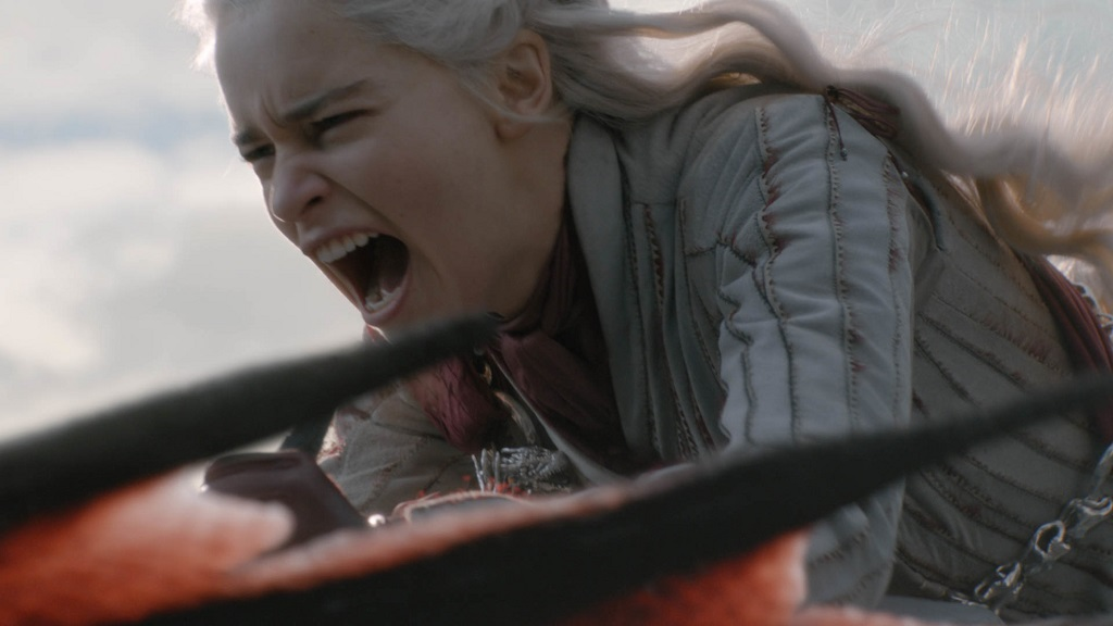"This image released by HBO shows Mother of Dragons Daenerys Targaryen  (Emilia Clarke) in a scene from ""Game of Thrones"". (Helen Sloan/HBO via AP)"