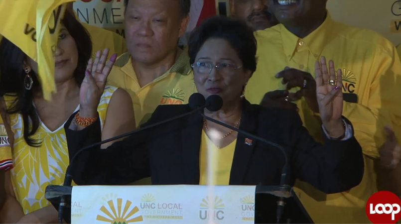 Opposition Leader Kamla Persad-Bissessar claims victory in the Sangre Grande Regional Corporation at the 2016 Local Government Elections.
