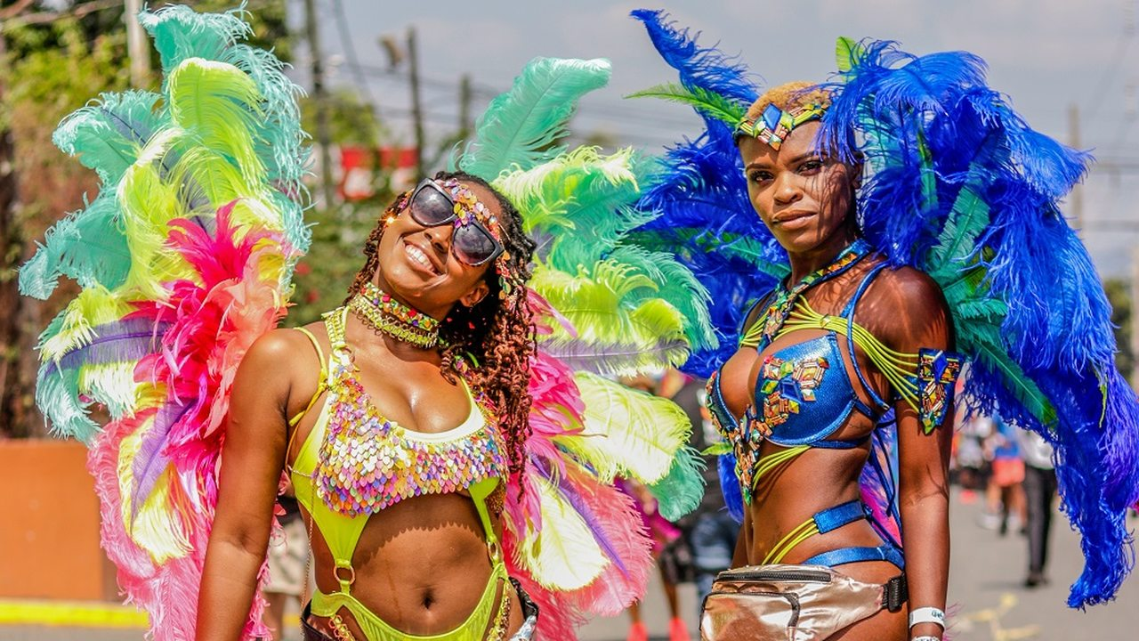 Xodus revellers at Sunday's carnival Road March. (PHOTO: Tatyana Atkinson)