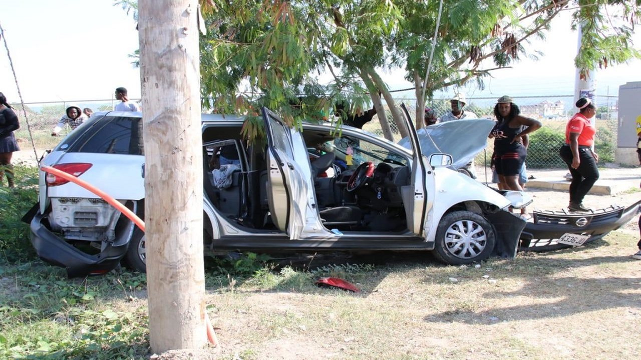 One of the Nissan AD Wagon motorcars that were involved in the deadly cop verses cop drama in Spanish Town, St Catherine early on Sunday morning.
