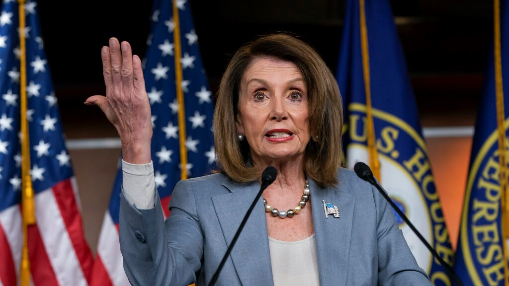 In this May 9, 2019, photo, Speaker of the House Nancy Pelosi, D-Calif., speaks on Capitol Hill in Washington. (AP Photo/J. Scott Applewhite)