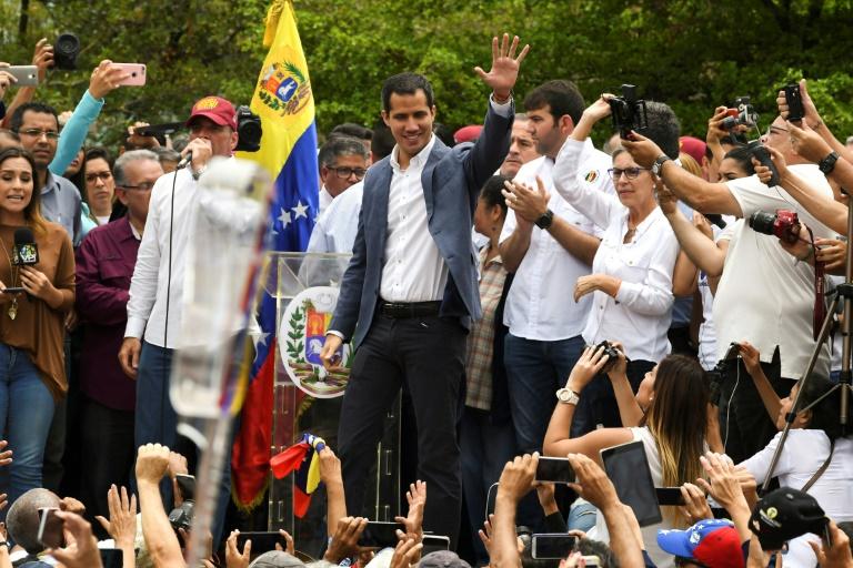 Le leader de l'opposition vénézuélienne Juan Guaido lors d'une manifestation à Caracas le 11 mai 2019