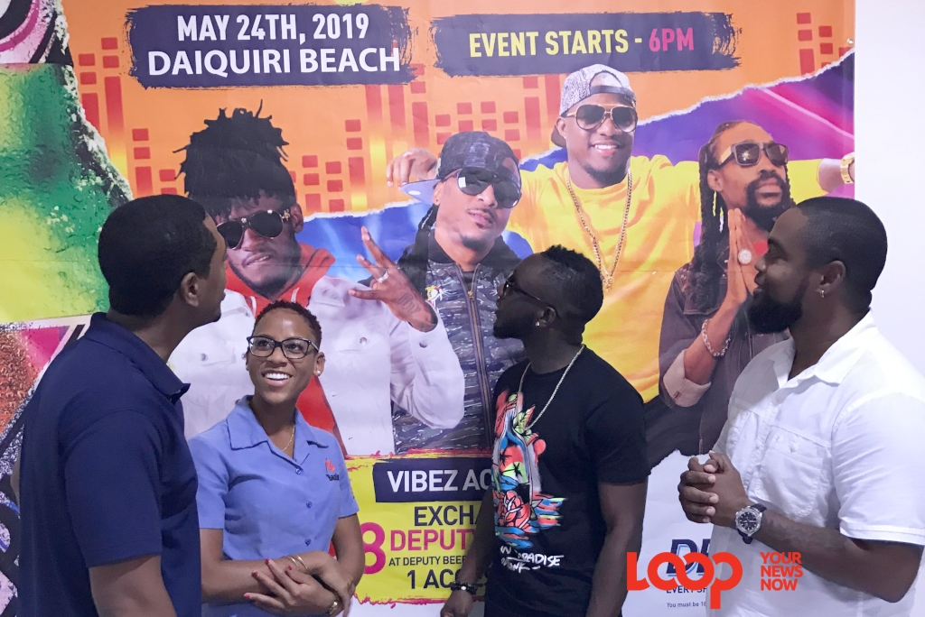 (L-R) Marketing Manager, Banks (Barbados) Breweries Limited, Charles Walcott, Marketing Coordinator Leanne Hall along with performer Jus D and Event Producer Mario Turton.