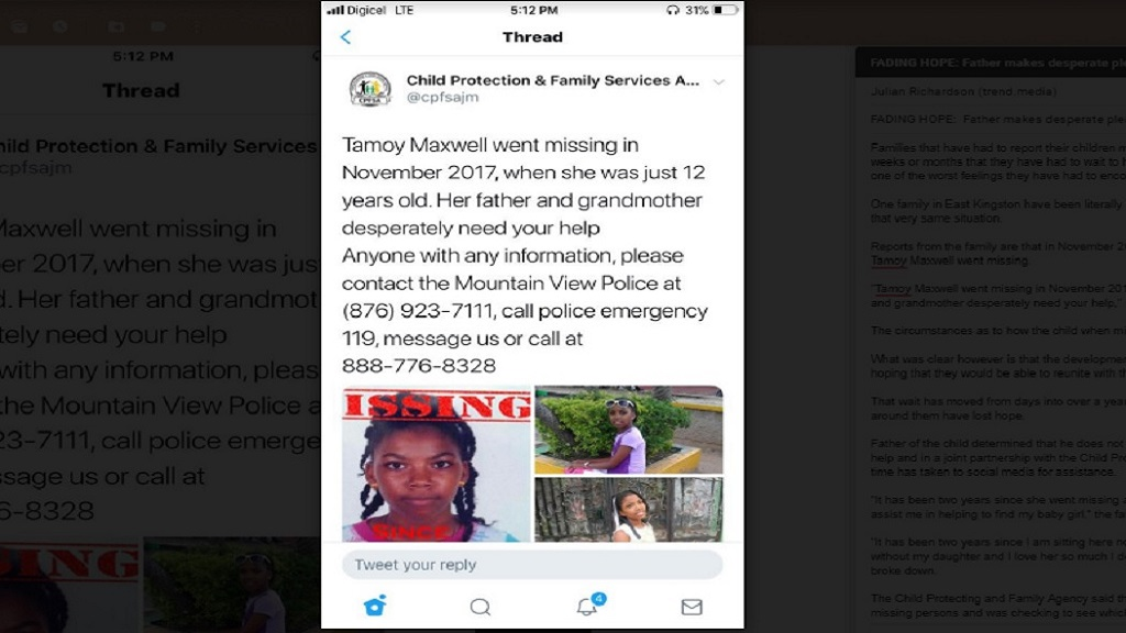 A social media post in relation to missing girl, Tamoy Naxwell.