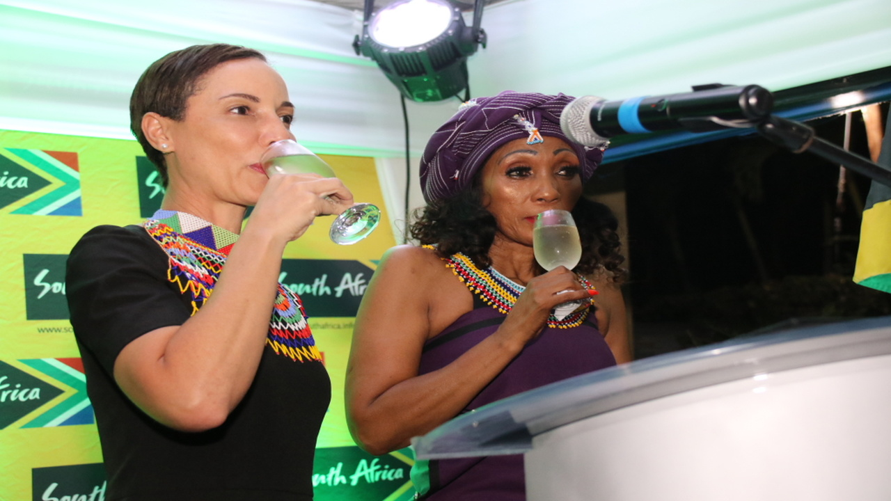 (From left) Foreign Affairs Minister Kamina Johnson Smith with South African High Commissioner to Jamaica, Lumka Yengeni, at the latter's Barbican residence in St Andrew. The occasion was the celebration of South Africa's 25th anniversary of freedom and democracy. (PHOTOS: Llewellyn Wynter)