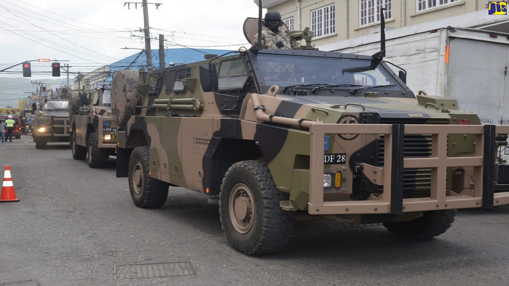 Jamaica Defence Force (JDF) armoured personnel carriers on display in Montego Bay, St James last Wednesday as part of the Second Battalion, Jamaica Regiment's march past in the city.