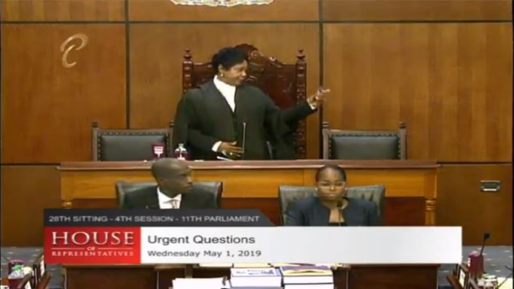 House Speaker Brigid Anissette-George on her feet as she calls Parliament Marshals to escort Princes Town MP Barry Padarath out.