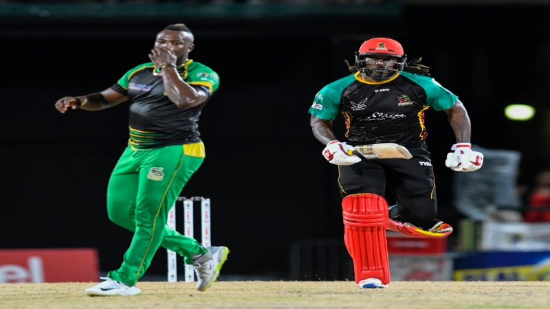 Chris Gayle playing for St Kitts & Nevis Patriots against Jamaica Tallawahs  last season.