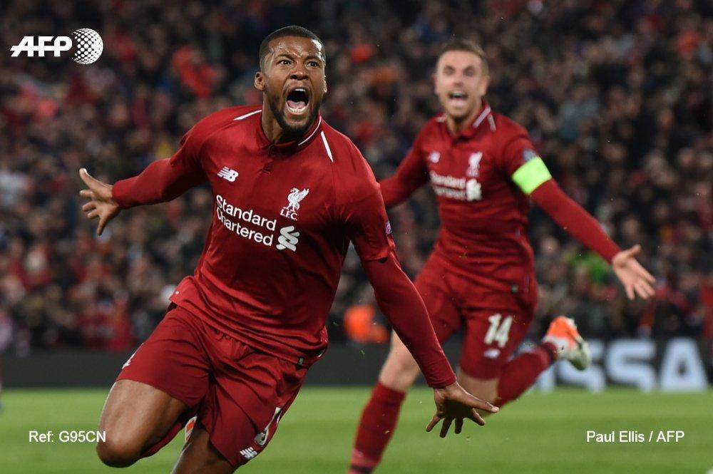 L'attaquant belge Divock Origi (N.27)qualifie Liverpool en marquant le 4e but contre Barcelone à Anfield, le 7 mai 2019