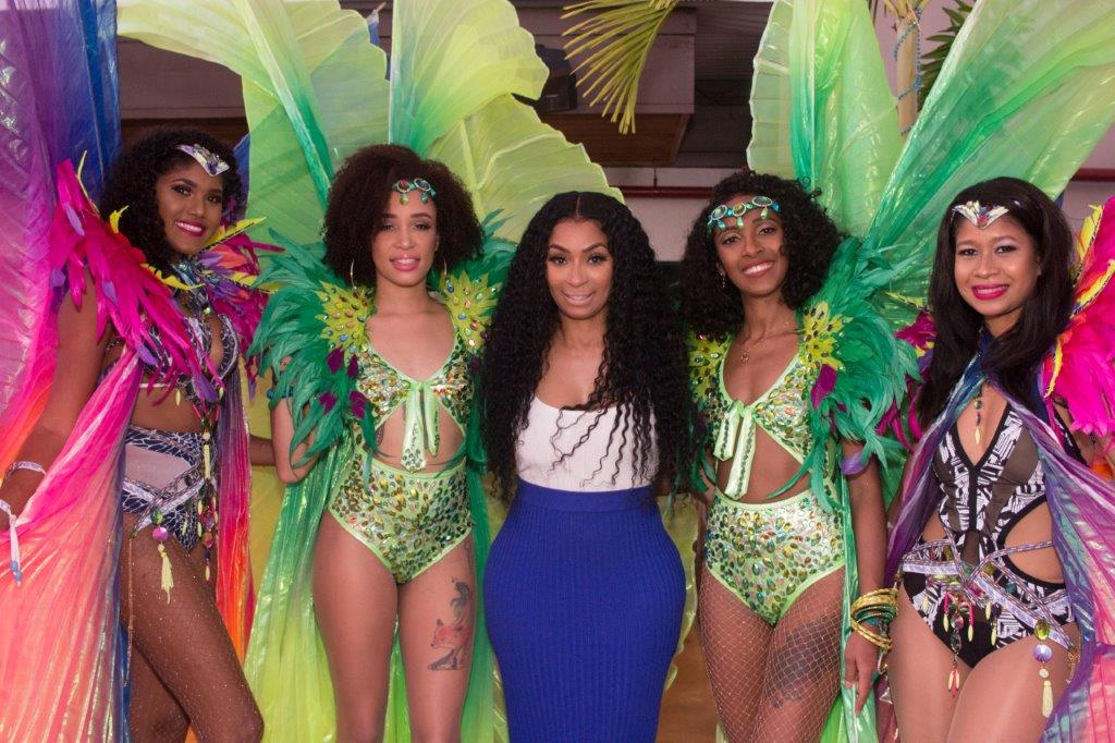 Karlie Redd with costumed girls from Lost Tribe's Talent Bank
