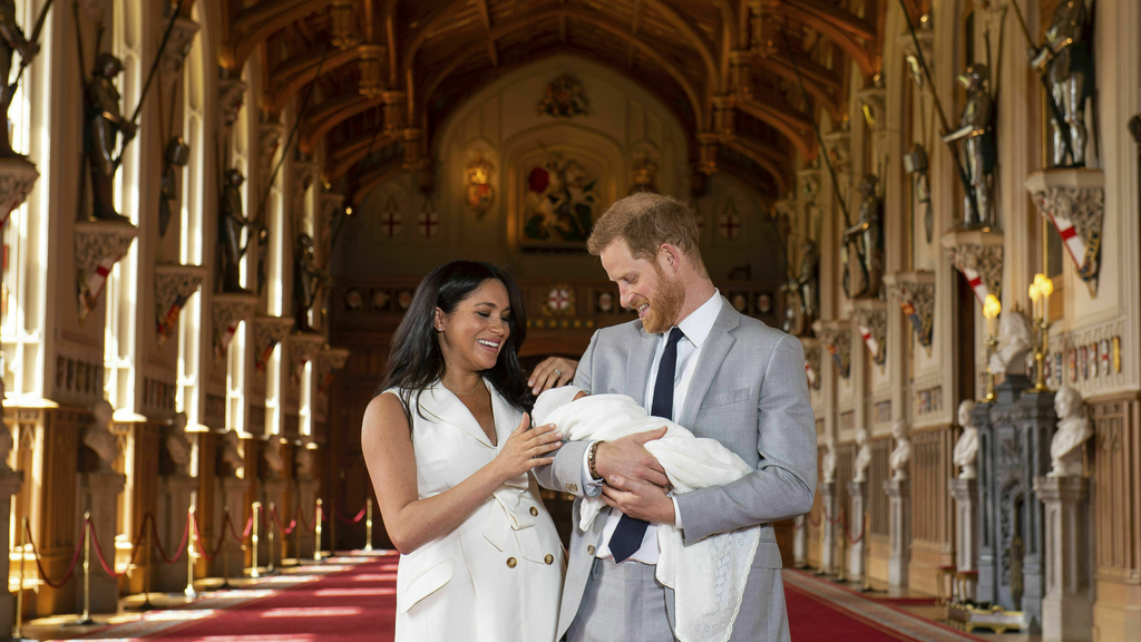 The Duke and Duchess of Sussex present their newborn.