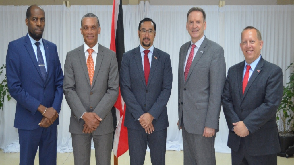national Security Permanent Secretary  Vel Lewis; Minister of Foreign and CARICOM Affairs Dennis Moses; Minister of National Security Stuart Young; United States Agency for International Development (USAID) Administrator Mark Green and Chargé d'Affaires at the Embassy of the United States of America in Trinidad and Tobago John McIntyre.