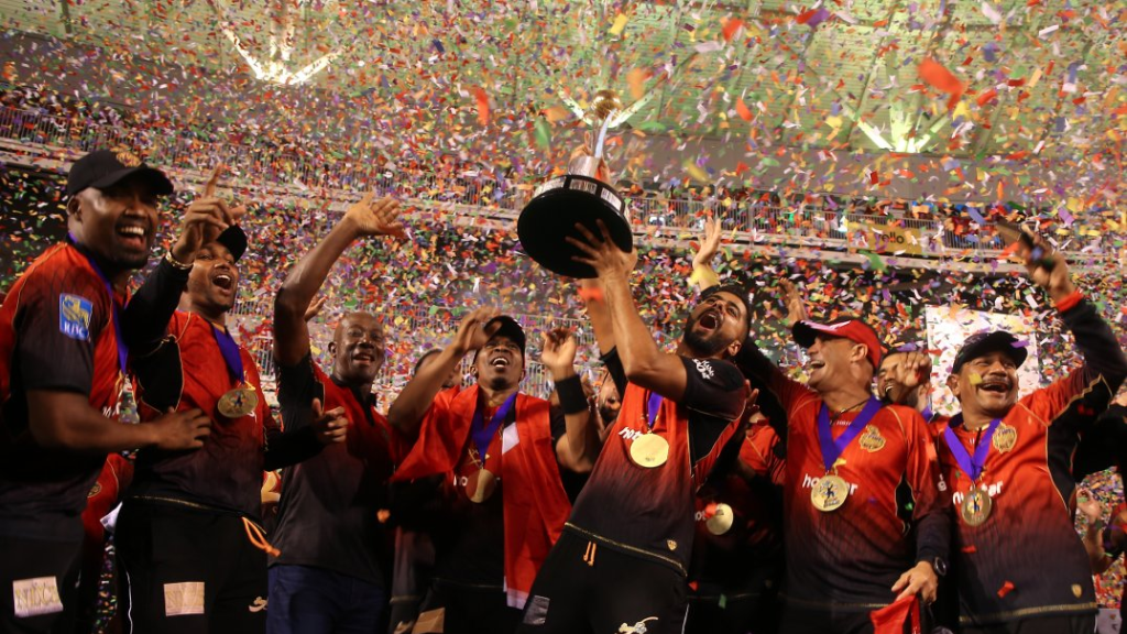 The Trinbago Knight Riders beat the Guyana Amazon Warriors by eight wickets to retain the Hero CPL title