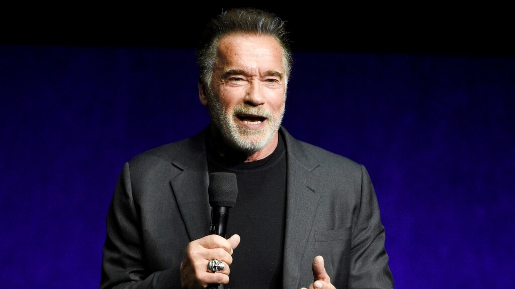 "In this Thursday, April 4, 2019 file photo, Arnold Schwarzenegger, a cast member in the upcoming film ""Terminator: Dark Fate,"" discusses the film during the Paramount Pictures presentation at CinemaCon 2019, the official convention of the National Association of Theatre Owners (NATO) at Caesars Palace, in Las Vegas."