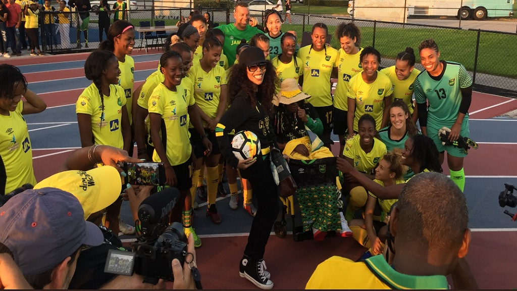 Jamaica's Reggae Girlz at the Ansin Sports Complex in Miramar, Florida.