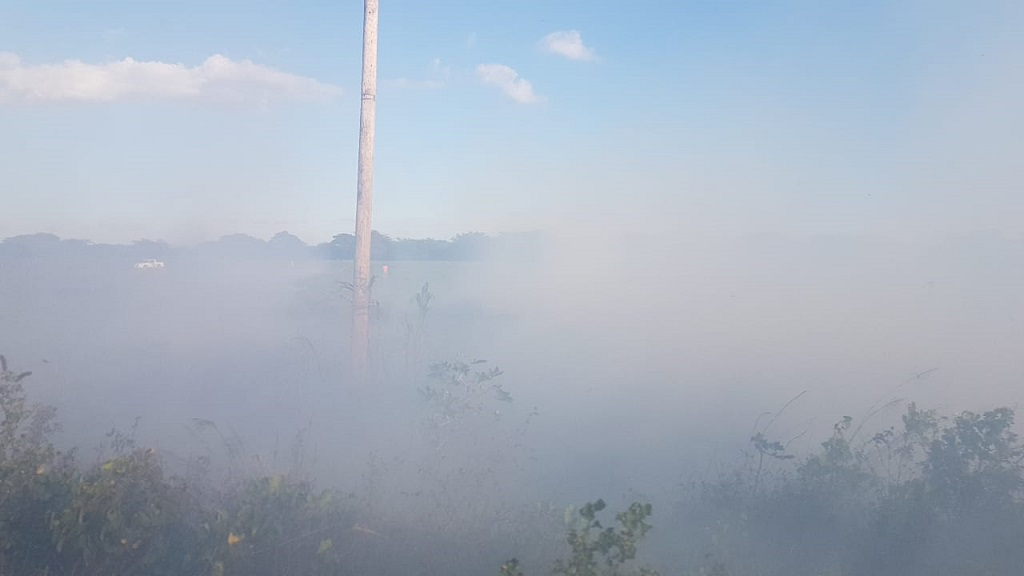 Smoke from a bush fire nearby the Mandela Highway has been causing visibility problems for motorists.