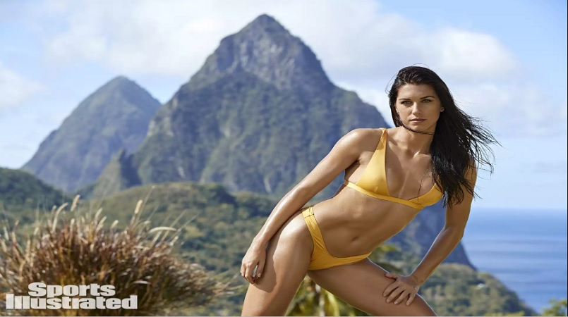 Alex Morgan was photographed by Ben Watts in St. Lucia. Swimsuit by Monica Hansen Beachwear