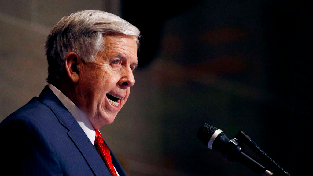 In this Jan. 16, 2019, file photo, Missouri Gov. Mike Parson delivers his State of the State address in Jefferson City, Mo. (AP Photo/Charlie Riedel, File)