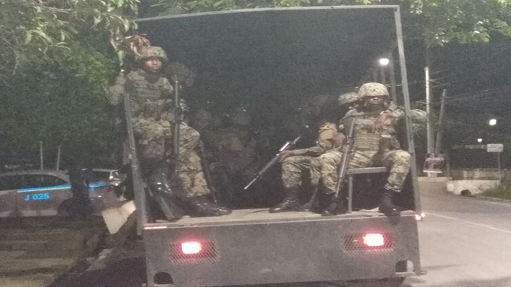 Jamaica Defence Force (JDF) soldiers on deployment in Westmoreland on Tuesday night.