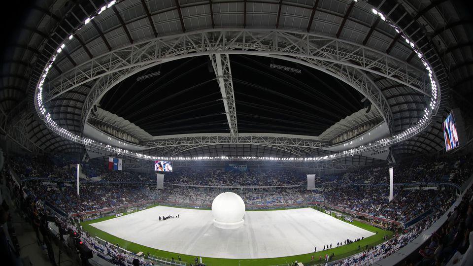 Préparation de l'ouverture de la cérémonie au stade Al-Wakrah au Qatar, à l'occasion de la finale de la Coupe de l'Emir, le 16 mai 2019 afp.com/Karim JAAFAR