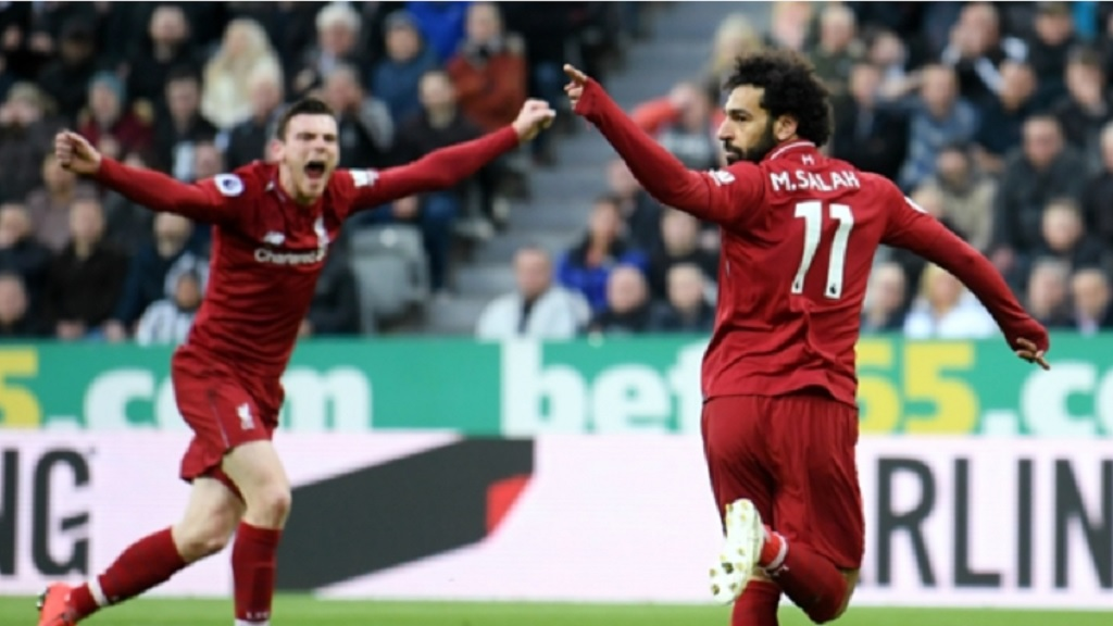 Liverpool pair Mohamed Salah and Andy Robertson.