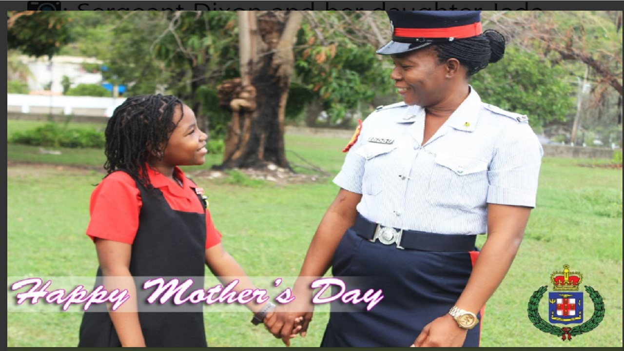 A policewoman and her daughter who are among  the mother-child combinations featured on the Jamaica Constabulary Force's (JCF) official Twitter page in recognition of Mother's Day 2018.