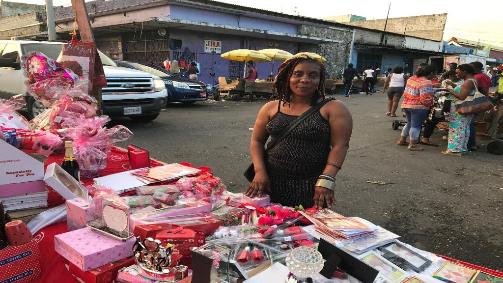 Cindy Small... proud mother of four happily plying her trade as a vendor on Orange Street in downtown Kingston.