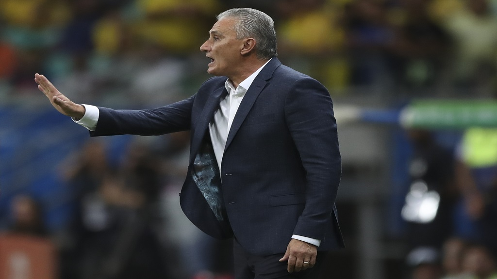 Brazil's coach Tite gives instructions to his players during a Copa America Group A football match against Venezuela at the Arena Fonte Nova in Salvador, Brazil, Tuesday, June 18, 2019.