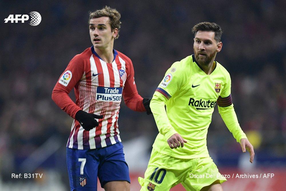 L'attaquant français Antoine Griezmann et le prodige argentin Lionel Messi