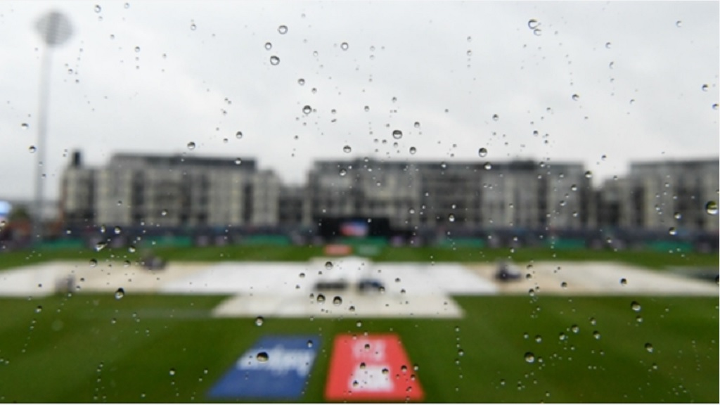 A view of the County Ground in Bristol as rain continues to fall.