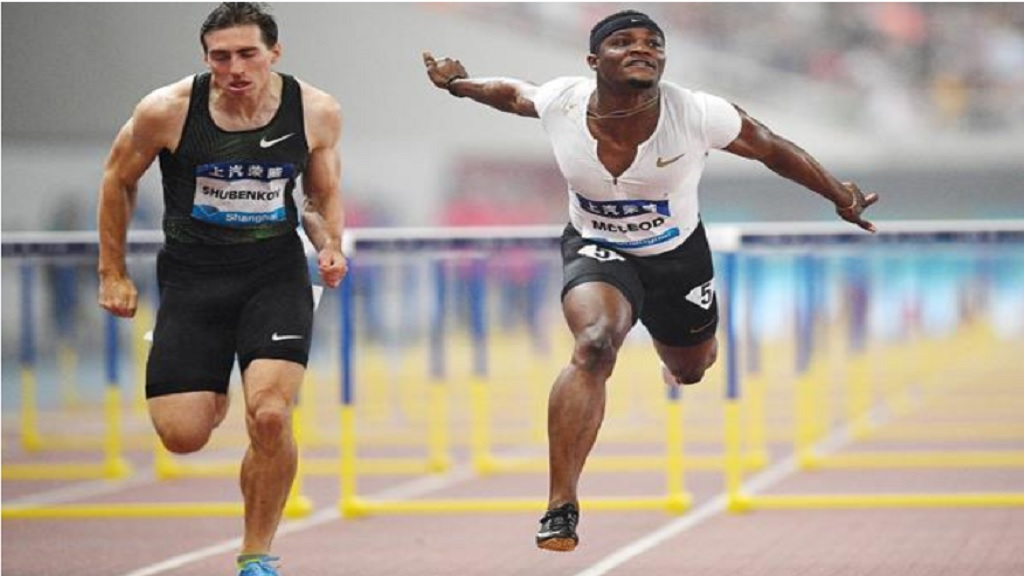 Omar McLeod wins the 110m hurdles at the IAAF Diamond League meeting in Shanghai.