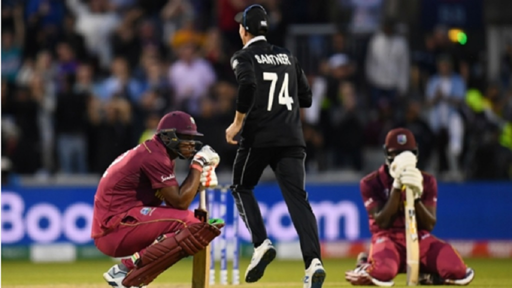Carlos Brathwaite deflated after West Indies' loss to New Zealand.