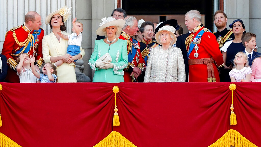 Britain's Queen Elizabeth, center, and members of the royal family attend the annual Trooping the Colour Ceremony in London, Saturday, June 8, 2019. (AP Photo/Frank Augstein)